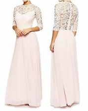 Full Length Lace Crew Neck Party Dresses
