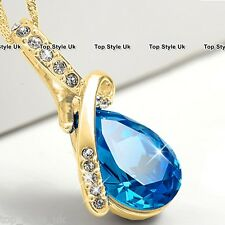 BLACK FRIDAY DEALS Blue Diamond Gold Necklace Xmas Gifts Presents for Her Mum 3B