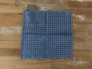 CANALI two-sided blue silk pocket square authentic - NWT