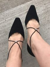 Stuart Weitzman Black Stretch Rhinestone Pointy Toe Heels 36 Spain