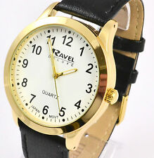 Ravel Deluxe Mens Gold Tone Black Big Number Big Watch, Real Leather Black Strap