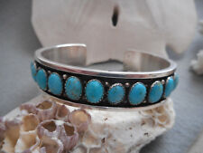Native American Sterling Signed Harold Tahe Turquoise Cuff Bracelet   7432A