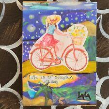 ORIGINAL ACEO Collage Girl Woman Bike Life Adventure Landscape Flowers