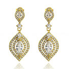 9K GOLD GF VICTORIAN VINTAGE MARQUISE SIMULATED CT DIAMOND WEDDING DROP EARRINGS