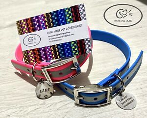 Reflective waterproof personalised dog collar