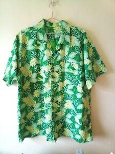Vintage Style Hawaiian Shirt Green Leaves  Aloha  Sz XXL