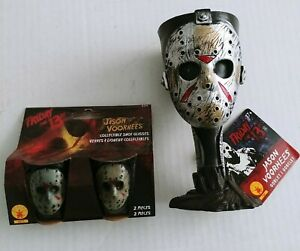 Jason Voorhees Goblet & Shot Glasses Friday 13th Halloween Plastic Cup New NWT
