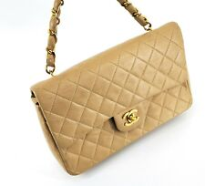 Chanel Beige CC logo Vintage Classic Single Flap Hand Bag Short Chain 55812956
