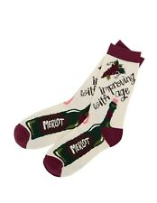 Hatley Crew Socks WOMENS Medium 9-11 Improving with Age Wine Merlot Rose