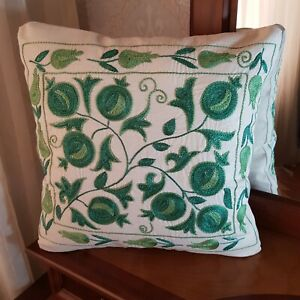 Uzbek embroidered suzani pillow cover 17x17,throw lumbar green pillow case boho
