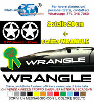 Adesivi Jeep WRANGLER scritte TJ YJ rubicon sahara 4X4 laterale cofano stelle 20