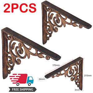2PCS Retro Cast Iron Shelf L Shaped Wall Shelves Bracket Support Holder Frame