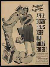 1944 OLD GOLD Cigarettes - WWII Navy Officer Kissing Woman - Kiss - VINTAGE AD