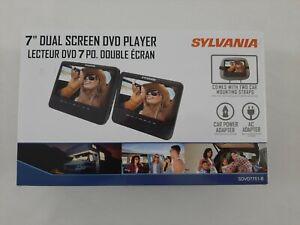 "New Sylvania 7"" Dual Screen DVD Player SDVD7751-B With Car & AC Adapter"