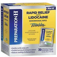 Preparation H Rapid Relief 20 Pack Lidocaine Totables Hemorrhoidal Wipes Sealed