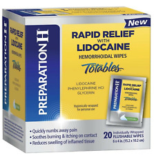 Preparation H Rapid Relief 20 Pack Lidocaine Totables Hemorrhoidal Wipes Sealed