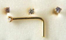 STERLING SILVER 18ct GOLD PLATED C/Z NOSE STUD CLAW SET L SHAPE 1.25MM C/Z 46