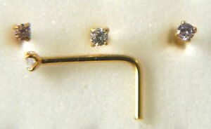 TINY STERLING SILVER 18ct GOLD PLATED C/Z NOSE STUD  L SHAPE 1.25MM C/Z 46