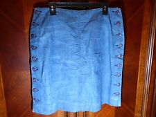 FRX Clothing Blue Denim Skirt Mini Buttons Galore Ladies 30 Made in USA