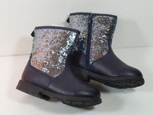 New Girl's Winter Carter's $44 Navy Blue Sparkly Faux Leather Boots, Sz 5, 6, 8