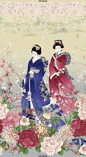 "23"" Fabric Panel - Timeless Treasures Sakura Metallic Japanese Geisha Floral"