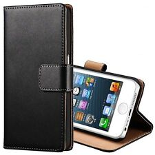 For Apple iPhone 5 5S SE Genuine Leather Wallet Stand Case Cover Pouch Skin