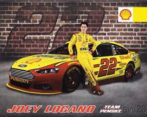 2014 Joey Logano Shell Pennzoil Ford Fusion NASCAR Sprint Cup postcard