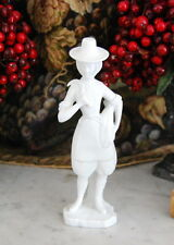 GREAT VINTAGE VISTA ALEGRE PORTUGAL WHITE BISQUE FIGURINE FARMER GIRL WITH HAY