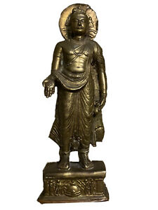 ESTATE FIND - Bronze Buddha with Hamsa Hand. Possibly Ancient Gandhara Style