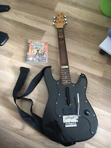 Rockband Playstation Gitarre Logitech aus Holz Echtholz + Guitar Hero Spiel PS3