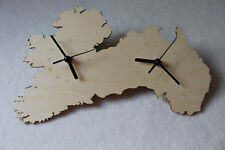 Unique Bespoke Ireland and Australia Connected Country Shape Wall Clock Handmade