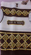 """Auth Hermes Sarga de seda bufanda """"FEUX ROUTE"""" en marrón-De 90x90cm"""