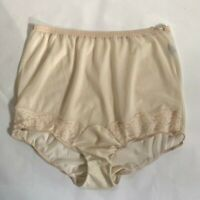 Vintage 1970s Vanity Fair Ultra Sheer Beige Nylon Panties w/Lace Trim Size 6