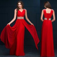 Red Grey GK Ladies Long Wedding Ball Gown Evening Prom Party Dress 6 8 10 ~18 20