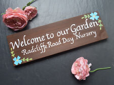 Exterior House Name Sign, Personalised Wooden Blue Flower, Cottage Name Sign