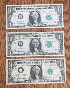 1963 B $1 US FEDERAL RESERVE BARR NOTE LOT - THREE (3) NOTES - KANSAS CITY