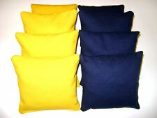 MICHIGAN WOLVERINES CORNHOLE BEAN BAGS TAILGATE TOSS 8 SOLID NAVY YELLOW QUALITY