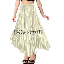 Satin 12 Yard 4 Tiered Belly Dancing Tribal Skirt Fusion Dance Gothic Skirt S32