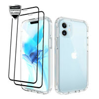 For iPhone 12,12 Pro Max Clear Crystal Shockproof Case + Glass Screen Protector