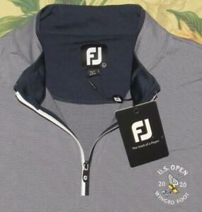 FOOTJOY Navy White 1/2 Zip Pullover Golf Shirt 2020 US OPEN Winged Foot L NWT