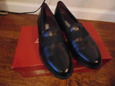 SALVATORE FERREGAMO BLACK CALF RIO LOAFERS DRESS SHOES SZ.9D NEW