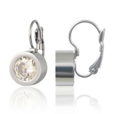 Stainless Steel Twist Locket Earrings 19x10mm with Changeable White Stones
