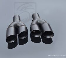 "Black Exhaust Muffler Tips Dual Staggered 3"" L and R Quad Set 2.25"" ID 9.5"" Long"