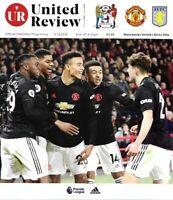 Manchester United v Aston Villa 1st December 2019 Match Programme 19/20