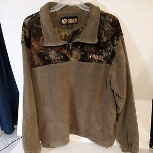 Rocky Men's Fleece Pullover 1/4 Zip Shirt. XXL ProHunter Gear Drawstring Camo