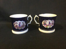 Antique C.1830 pair of Sevres style cobalt blue porcelain coffee cans / cups