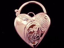 K010 Genuine 9ct / 9K SOLID Rose Gold FILLIGREE Heart PADLOCK Clasp Pendant
