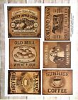 Vintage Style Pantry Labels, Primitive Country, Uncut Sticker Sheet, 6 Labels