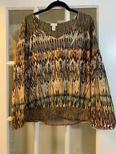 Chicos sequined patterned boho blouse long sleeve brown blouse 2/medium