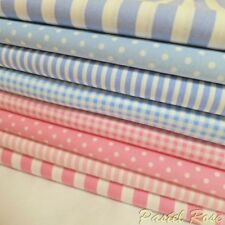 Baby Blue & Pink Fabric Bundle of 8 metres 100% Cotton Material Craft Clothing